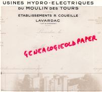47 - LAVARDAC - FACTURE USINES HYDRO-ELECTRIQUES DU MOULIN DES TOURS- ETS. R. COUEILLE - Calendriers