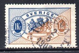 XP2499 - SVEZIA 1874 , Servizio 1 Kr Unificato N.  11A  Usato Used . Dentellato 13