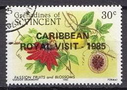 Grenadines Of St Vincent Used Stamp With Caribbean Royal Visit Overprint