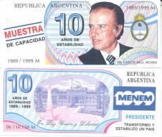 BILLETE DE PROPAGANDA NO TUVO CURSO LEGAL O FORZOSO DR. CARLOS SAUL MENEM 1989-1999 - Argentina
