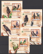 C113 2009 UNION DES COMORES FAUNA BIRDS LES PERROQUETS PARROTS 5LUX BL MNH