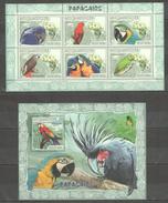 B257 2007 MOCAMBIQUE FAUNA BIRDS PARROTS 1BL+1KB MNH
