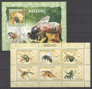 B261 2007 MOCAMBIQUE INSECTS ABELHAS 1KB+1BL MNH