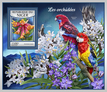 NIGER 2017 - Orchids, Parrots S/S. Official Issue