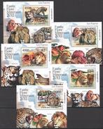 C117 2011 UNION DES COMORES FAUNA ANIMALS LIONS PANTHERAS LES FAUVES 5LUX BL MNH