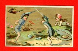 Jolie Chromo Dorée Lith. Courbe Rouzet, Naïades, Coquillages & Poissons, Duel Sous-marin - Chromos