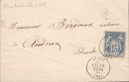 25 - Saint WIT - Petite Enveloppe De Saint Wit Pour Audeux - Timbre Type Sage Oblitéré Tàd Type 16 Du 24 Fevrier 1883 - Marcophilie (Lettres)