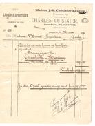 Facture De Charles Cuisinier à Jemappes Vins Liqueurs,Spiritueux 12/3/1914 Pout Propriétaire à Genly PR4092 - 1900 – 1949