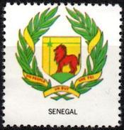 VIgnette Cinderella Seal Label - Senegal - Coats Of Arms - Lion Lions Löwen Löwe Leones Cats Fauna Star Palm Leaves Star