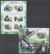 B291 2012 MOCAMBIQUE FAUNA ANIMALS MACACOS EM VIAS DE EXTINCAO 1KB+1BL MNH