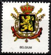 VIgnette Cinderella Seal Label - Belgium - Coats Of Arms - Lion Lions Löwen Löwe Leones Cats Fauna Sceptres Crown