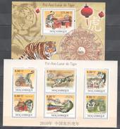 B294 2009 S MOCAMBIQUE PRE-ANO LUNAR DO TIGRE WILD ANIMALS TIGERS 1KB+1BL MNH
