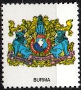 VIgnette Cinderella Seal Label - Myanmar - Burma - Coats Of Arms - Lion Lions Löwen Löwe Leones Cats Olive Branches