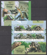 B302 2012 MOCAMBIQUE REPTILES TURTLES LONESOME GEORGE 1BL+1KB MNH