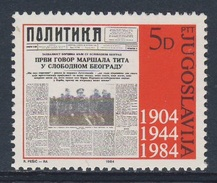"Jugoslavija Yugoslavia 1984 Mi 2023 YT 1905 ** Masthead (1944) Newspaper ""Politika"" /  80 Jahre Zeitung / Journal - 1945-1992 Socialistische Federale Republiek Joegoslavië"