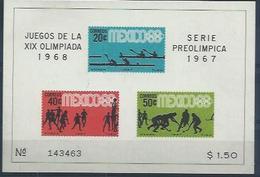 """MEXIQUE  : Y&T Bloc N° 7 """" Prélude Aux JO De Mexico 1968 - Summer 1968: Mexico City"""