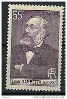 """FR YT 378 """" Léon Gambetta """" 1938 Neuf* - Ungebraucht"""