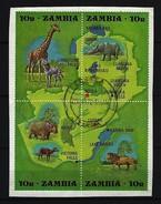 ZAMBIA Mi-Nr. 85 - 88 Viererblock Aus Block Nr. 2  Naturschutzjahr Gestempelt Auf Papier - Zambia (1965-...)