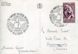 18815  Italia, Special Postmark 1955 Trieste Assembly  Of The Unione Società Veliche