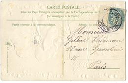 CPA CACHET SANS DATE  PARIS XVI DISTRIBUTION - 5 C VERT - Marcophily (detached Stamps)