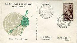 18764 Italia, Special Cover And Postmark 1955 Roma World Fencing Champ. Fechten Escrime 1955