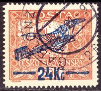 CZECHOSLOVAKIA - AIRMAIL Ovpt.  Perf  L  RARE  - Used - 1920 - Posta Aerea