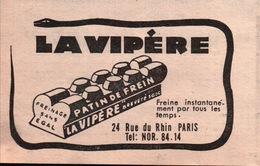 Patin De Frein La Vipère Freinage Sans égal - Pub  Tirée De L'Officiel Du Cycle Et Du Motocycle 1959 - Werbung