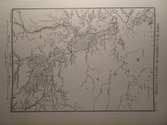 Carte De La Campagne De Labienus à Lutetia, Paris, Melodunum, Melun, Agedincum, Sens, Carte Parue En 1865, Armée Romaine - Cartes Géographiques