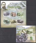 B326 2011 MOCAMBIQUE CARS AUTOMOBILES RALLY DE MONTE CARLO 1KB+1BL MNH