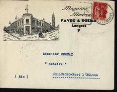 Enveloppe Illustrée Magasins Modernes Favre Et Rozier Langres Haute Marne Tissus Vêtements Meubles Literie YT 283 - Poststempel (Briefe)