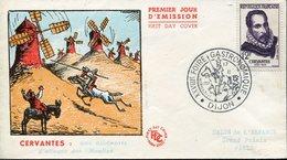 18834 France, Fdc 1957 Miguel De Cervantes, Postmark Dijon 1957  Gastronomic Fair - Writers