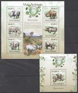 B339 2010 MOCAMBIQUE FAUNA MEIO AMBIENTE ANIMALS RHINO RINOCERONTES KB+BL MNH