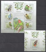 B342 2010 MOCAMBIQUE FAUNA MEIO AMBIENTE BIRDS PARROTS PAPAGAIOS 1KB+1BL MNH