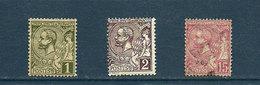 Monaco - 1891 - N° 11, 12 Et 15 Oblitérés