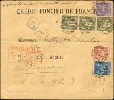 Càd (5) AFFRANCHISSEMENT (5) / PARIS / N° 72 Bande De 3 + N° 90 + N° 94 + N° 95 Sur Lettre...