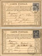Ensemble De 2 Cartes Précurseurs Oblitérées Du Dernier Jour Du Tarif à 15c. Et Du 1er...