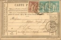 Càd T 17 BERGUES (57) / N° 63 Paire + N° 85 Sur CP. 1878. - TB. - R.