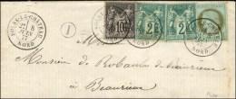 Càd T 18 SOLRE-LE-CHATEAU / NORD / N° 50 + N° 62 (2) + N° 89 Sur Lettre Pour Beaurieux. 1877. -...
