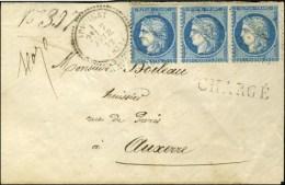 GC 124 / N° 60 Bande De 3 Càd T 23 APPOIGNY (83) Sur Lettre Chargée Pour Auxerre. 1872....
