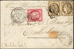 GC 6307 / N° 56 (2) + 57 Càd BORDEAUX / LES CHARTRONS Sur Lettre Pour Tellicherry (Inde) Par La Voie De...