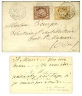 Càd VERSAILLES / CHAMBRE DES DEPUTES / N° 54 + 55 Sur Lettre Avec Carte De Visite. 1876. - SUP. - R.