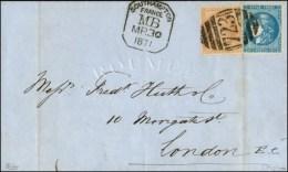 Killer 723 / N° 46 + 28 Cachet SOUTHAMPTON / MB Sur Lettre Du Havre Pour Londres. 1871. - TB / SUP. - R.