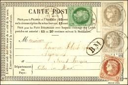 Càd T 17 PORTRIEUX (21) / N° 41 (paire) + 51 + 53 Cachet BM Sur C.P. Combinaison Exceptionnelle. 1876. -...
