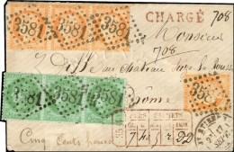 GC 3581 / N° 38 Bande De 3 + N° 53 Bande De 3 Càd T 17 ST ETIENNE Sur Lettre Chargée. Au...
