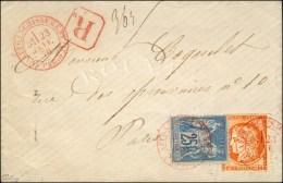 Càd Rouge (1) AFFRANCHISSEMENT (1) / PARIS / N° 38 + N° 79 Sur Lettre Recommandée Locale....