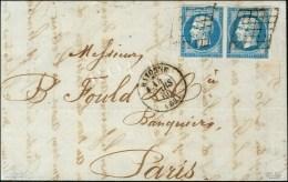 Grille / N° 14 Paire Càd T 15 BAYONNE (64) Sur Lettre 2 Ports Pour Paris. 1860. - TB / SUP. - R.