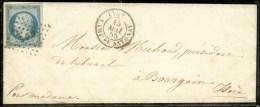 Losange CDS / N° 14 Càd LYON / CAMP DE SATONAY Sur Lettre Avec Texte Pour Bourgoin. 1855. - TB / SUP. -...