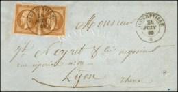 Càd Sarde ALBERTVILLE * / N° 13 (2) (bistre Brun) Sur Lettre Avec Texte Pour Lyon. 1860. Combinaison...