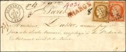 PC 1464 / N° 5 + 1 Càd T 15 GUERANDE (42) Sur Lettre Chargée. 1852. - TB. - RR.