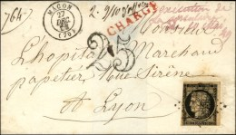Grille / N° 3 + PC 1824 Càd T 15 MACON (70), Taxe 25 DT Sur Lettre Chargée D'office, Mention...